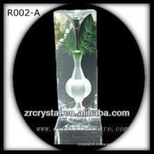 K9 Intaglio fait main en cristal avec fleur