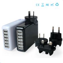 6 Anschlüsse Universal Chargertravel Ladegerät Tragbares Ladegerät Austauschbare Stecker Ladegerät 5V = 4A