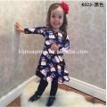 Venta al por mayor de la familia que empareja la ropa para los niños de la muchacha desgaste vestido largo impreso de la muchacha de flor de la Navidad de la manga