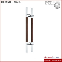 high quality metal glass door handle with wooden material