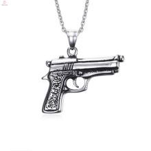 Dernières conception en acier inoxydable Gun pendentifs collier pour les hommes