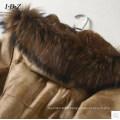 Piel de conejo real y abrigo de piel con piel de mapache en cuello largo estilo de mujer