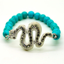Turquoise 8MM Round Beads Stretch Gemstone Bracelet with Diamante Snake Piece