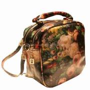 Vintage Synthetic Leather Handbag with Abstract Oil Painting Pattern, Custom Designs are Welcome