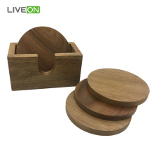 4 pcs Acacia Wood Coaster