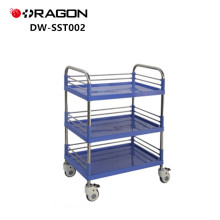 DW-SST002 Stainless Steel Medical Equipment Trolley With Plastic Table