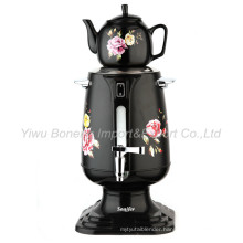 Sf-3316 (black) Turkish Samovar, Electric Kettle, Iranian, Russian Samovar with Ceramic Teapot