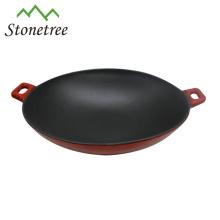 Wholesale Industria Red Enamel Cast Iron Chinese Wok Pan