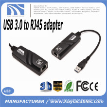 Hot-sale Black USB 3.0 10/100/1000Mbps Gigabit Ethernet RJ45 External Network Card LAN Adapter Connector One USB port