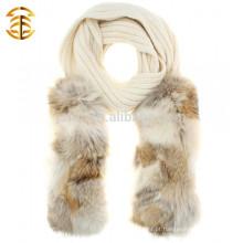 Design de marca de inverno quente de malha de lã e cachecol genuíno de pele de guaxinim