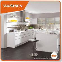 Matériau de peinture au four à haute brillance moderne pré assemblé Cabinet de cuisine blanc