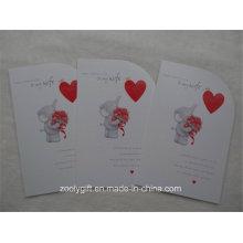 Corazón grabado en relieve de impresión Die-Cut Holiday Tarjeta de felicitación con Envelop