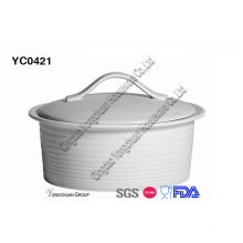 White Oval Casserole with Lid