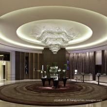 Suspension en cristal de hall de bureau personnalisé grand classique