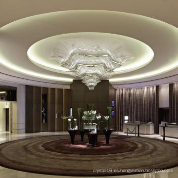 Lámpara colgante de cristal de pasillo de oficina personalizada grande clásica