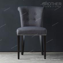 botão de tecido moderno nailheads luxo preto cadeiras de jantar
