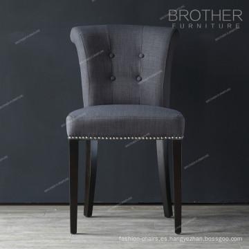 botones de tela moderna cabezas de clavo sillas de comedor negro de lujo