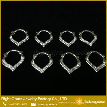 Schöner runder klarer Kristall eingehängter Septum-Ring Weinlese-Nasenpiercing