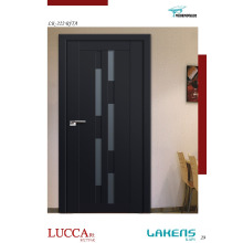 Black Lacquered Molded Interior Door with Decorative Colored Glass