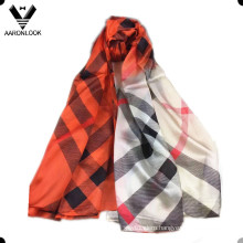 Women′s Big Brand Luxury Style Colorful Twill Stripe Silk Scarf
