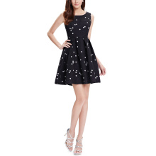 White Polka Dots Black Sexy Fashion Summer Women Lady Dress