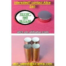 Seltene Erden Sintered Diskette Ndfeb Magnet 12.7X3.175mm