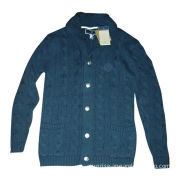 Men's Cable Cardigan with Embroidered at Back