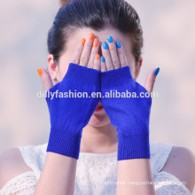 Hot sale lady short fingerless wool cashmere blended solid colorknit cashmere glove