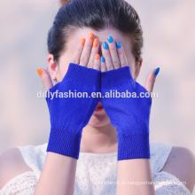 Hot sale lady short fingerless lã caxemira misturada sólida colorknit luva de caxemira