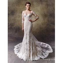 Vestido de casamento de sereia de renda manga longa Brial