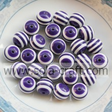 Wholesale 500Pcs Smooth Round Loose Chic Resin Spacer Bead Purple White Striped Mixed 8MM For Jewelry Making Craft DIY