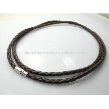 Moda y sencilla 4mm negro trenzado collar de cuero collares de moda