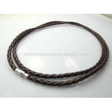 Мода и простые 4мм черные плетеные кожаные ожерелья моды ожерелья