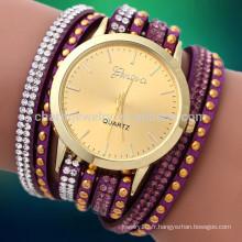 2016 Nouveau bracelet en mousseline de soie bracelet en cristal rhinestone long cuir femme montres quartz à poignet BWL006