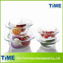 Rodada alta branco material tigela de vidro com tampa (TM010617)