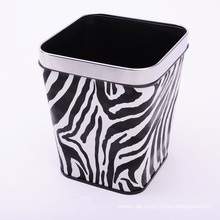 Zebra Design European Style Leder Covered Dustbin