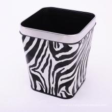 Cebra de diseño europeo de cuero cubierto cubo de basura