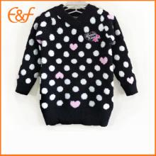 Pull à col roulé en tricot noir à motif de pois blancs de style japonais noir