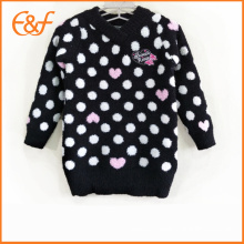 Japanese Style Black White Dot Pattern V Neck Kids Knitwear Girls Sweater Jumper