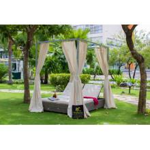 Mobilier de plage PE Wicker rattan extérieur double chaise longue avec canopée