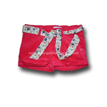 baby girls red cotton corduroy shorts