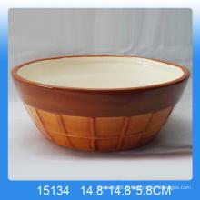 Bol de fruits en céramique à la main avec motif de glace