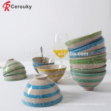 Hot selling stripe design mixing bowl set ceramic baby bowl set
