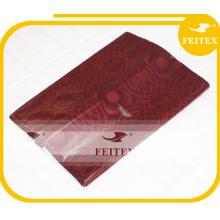 Tela de algodón africana al por mayor hecha a mano ghalila Vestido de dama de tela de brocado rojo de Guinea