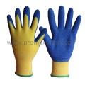 13G Polyester Liner Blue Latex Crinkle Finish Gants de travail revêtu de la palme