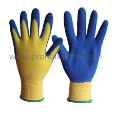 13G Polyester Liner Blue Latex Crinkle Finish Palm Coated Work Gloves