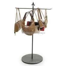 Bolso de la tienda al por menor Material del metal Ganchos de 4 maneras que cuelgan el bolso Venta al por mayor T exhibiciones de la exhibición del soporte