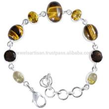 Rutileted Quartz Tiger Eye Citrine & Smoky Quartz con 925 pulsera de cadena de plata para el desgaste de todos los tiempos