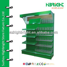 supermarket green vegetable and fruit display rack
