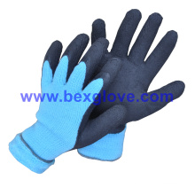 7 Gauge Acrylic Liner, Extra Thick Terry Knitted & Brushed, Latex Coating, Full Thumb Coating, Foam Finish Safety Gloves